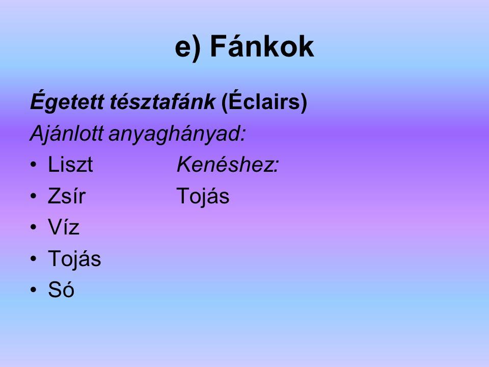 e) Fánkok Égetett tésztafánk (Éclairs) Ajánlott anyaghányad: Liszt Kenéshez: Zsír Tojás Víz Tojás Só