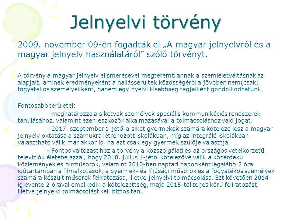 """Jelnyelvi törvény 2009. november 09-én fogadták el """"A magyar jelnyelvről és a magyar jelnyelv használatáról"""" szóló törvényt. A törvény a magyar jelnye"""