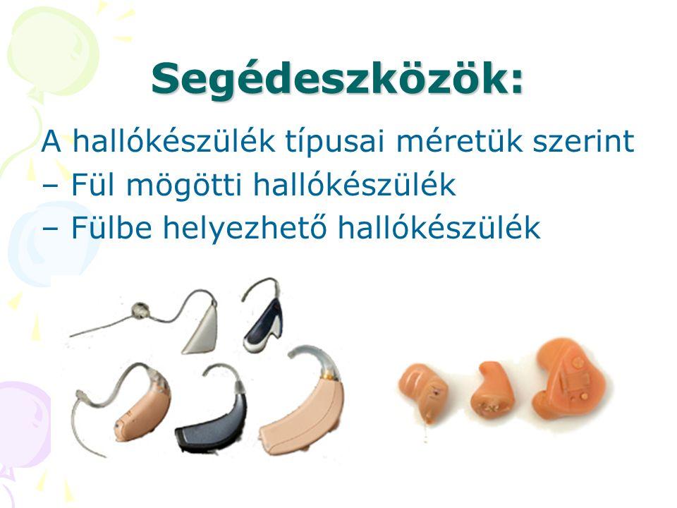 Segédeszközök: A hallókészülék típusai méretük szerint – Fül mögötti hallókészülék – Fülbe helyezhető hallókészülék