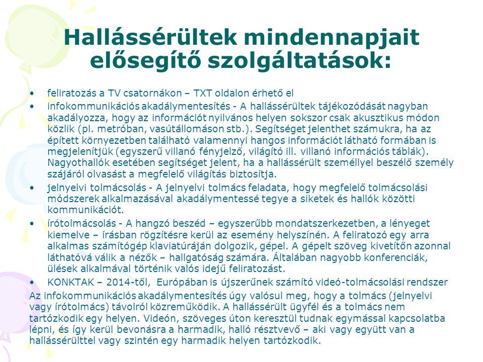 Hallássérültek mindennapjait elősegítő szolgáltatások: feliratozás a TV csatornákon – TXT oldalon érhető el infokommunikációs akadálymentesítés - A ha
