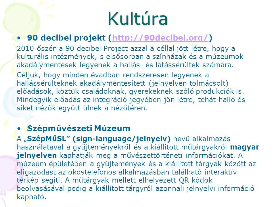 Kultúra 90 decibel projekt (http://90decibel.org/)http://90decibel.org/ 2010 őszén a 90 decibel Project azzal a céllal jött létre, hogy a kulturális intézmények, s elsősorban a színházak és a múzeumok akadálymentesek legyenek a hallás- és látássérültek számára.