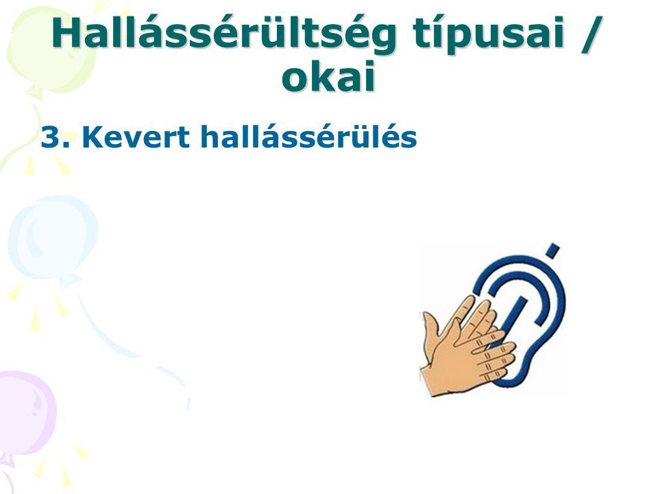 Hallássérültség típusai / okai 3. Kevert hallássérülés