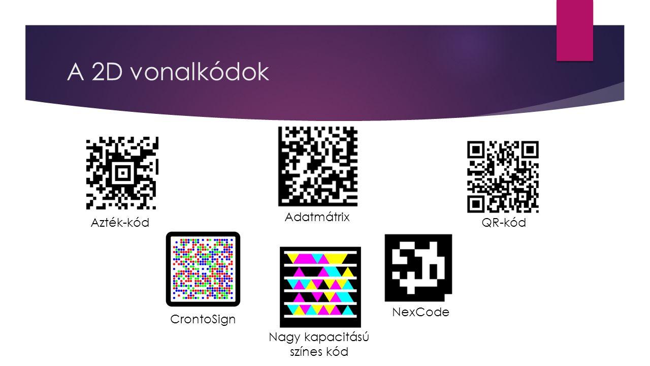 A 2D vonalkódok Azték-kód CrontoSign Adatmátrix NexCode Nagy kapacitású színes kód QR-kód