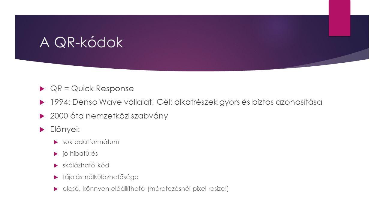 A QR-kódok  QR = Quick Response  1994: Denso Wave vállalat. Cél: alkatrészek gyors és biztos azonosítása  2000 óta nemzetközi szabvány  Előnyei: 
