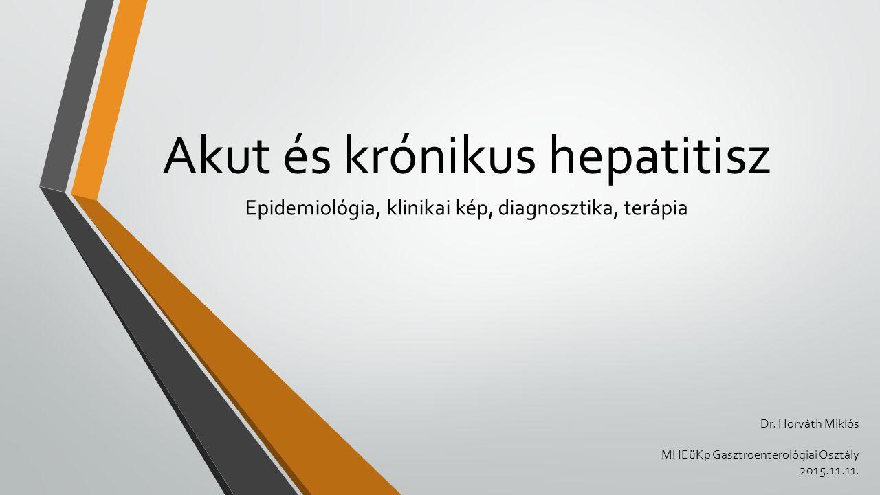 Akut és krónikus hepatitisz Epidemiológia, klinikai kép, diagnosztika, terápia Dr. Horváth Miklós MHEüKp Gasztroenterológiai Osztály 2015.11.11.