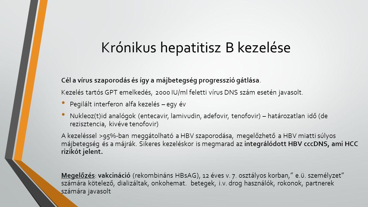Krónikus hepatitisz B kezelése Cél a vírus szaporodás és így a májbetegség progresszió gátlása. Kezelés tartós GPT emelkedés, 2000 IU/ml feletti vírus