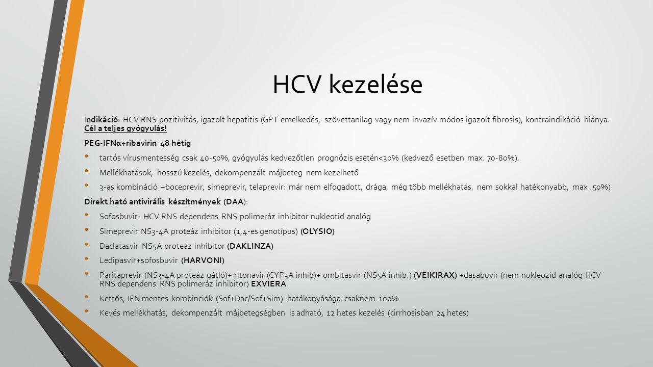 HCV kezelése Indikáció: HCV RNS pozitivitás, igazolt hepatitis (GPT emelkedés, szövettanilag vagy nem invazív módos igazolt fibrosis), kontraindikáció