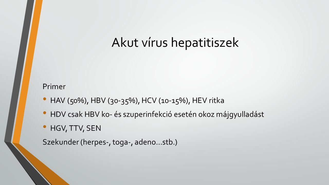 Akut vírus hepatitiszek Primer HAV (50%), HBV (30-35%), HCV (10-15%), HEV ritka HDV csak HBV ko- és szuperinfekció esetén okoz májgyulladást HGV, TTV, SEN Szekunder (herpes-, toga-, adeno…stb.)