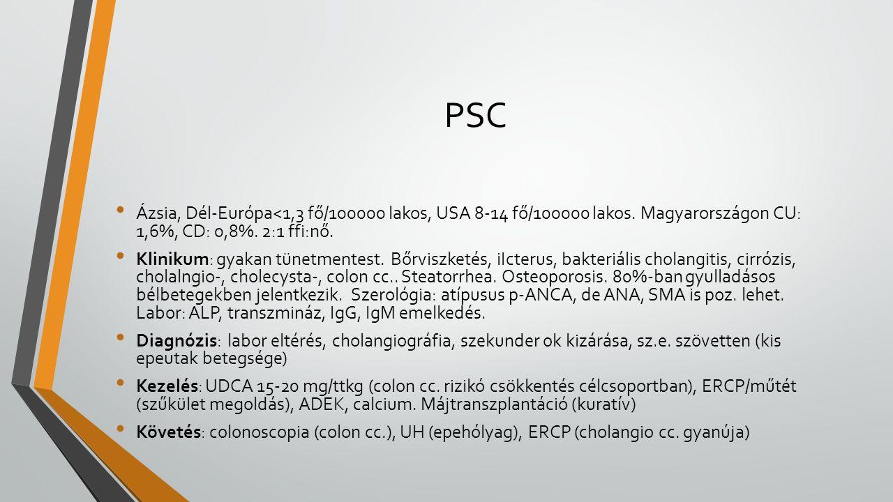 PSC Ázsia, Dél-Európa<1,3 fő/100000 lakos, USA 8-14 fő/100000 lakos. Magyarországon CU: 1,6%, CD: 0,8%. 2:1 ffi:nő. Klinikum: gyakan tünetmentest. Bőr