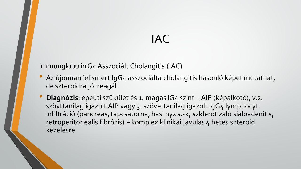 IAC Immunglobulin G4 Asszociált Cholangitis (IAC) Az újonnan felismert IgG4 asszociálta cholangitis hasonló képet mutathat, de szteroidra jól reagál.