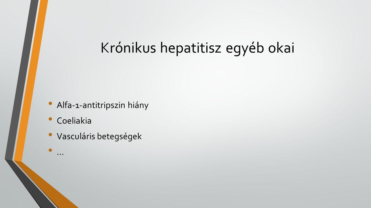 Krónikus hepatitisz egyéb okai Alfa-1-antitripszin hiány Coeliakia Vasculáris betegségek …
