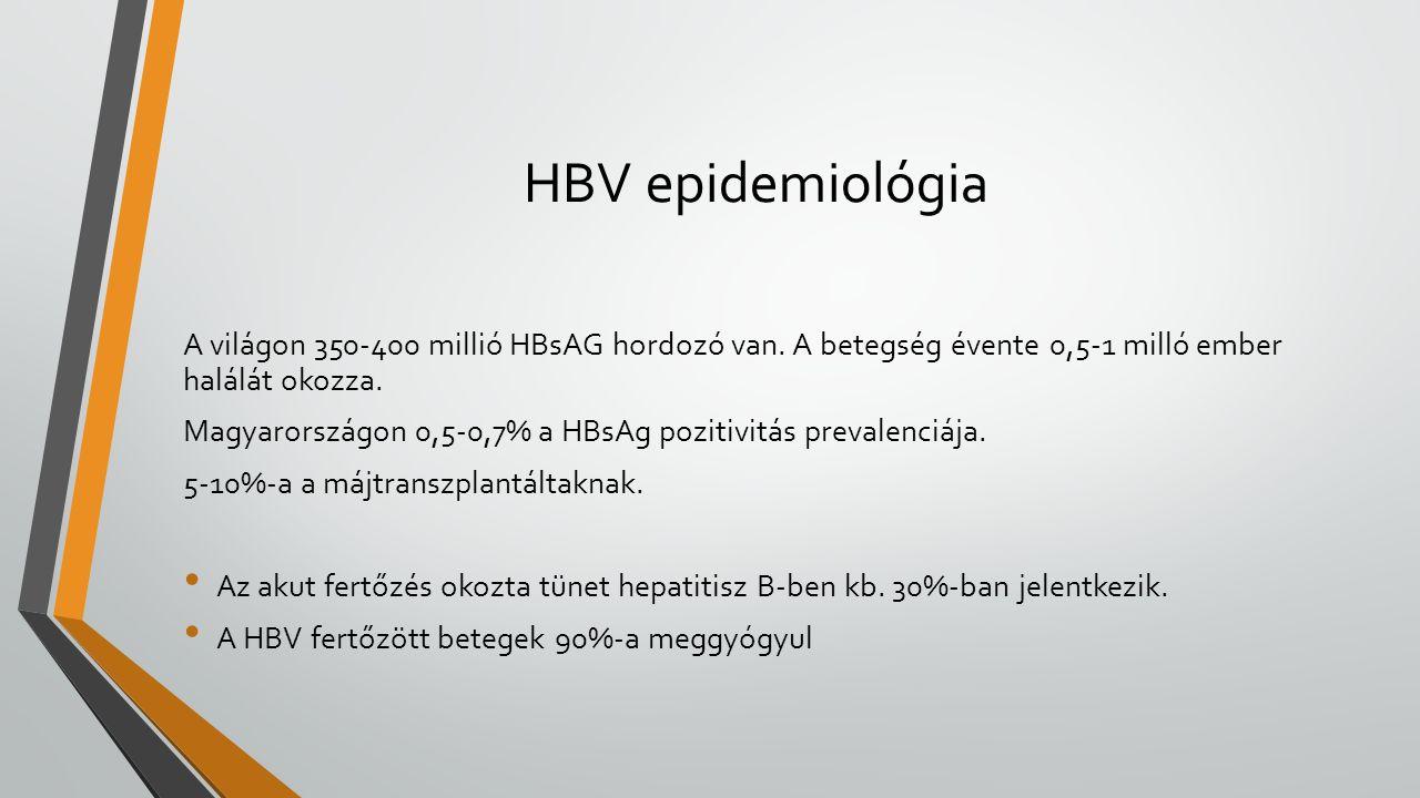 HBV epidemiológia A világon 350-400 millió HBsAG hordozó van. A betegség évente 0,5-1 milló ember halálát okozza. Magyarországon 0,5-0,7% a HBsAg pozi