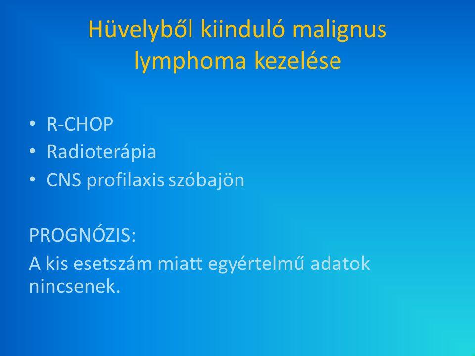 Hüvelyből kiinduló malignus lymphoma kezelése R-CHOP Radioterápia CNS profilaxis szóbajön PROGNÓZIS: A kis esetszám miatt egyértelmű adatok nincsenek.