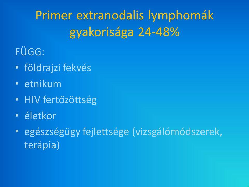 Primer extranodalis lymphomák gyakorisága 24-48% FÜGG: földrajzi fekvés etnikum HIV fertőzöttség életkor egészségügy fejlettsége (vizsgálómódszerek, t
