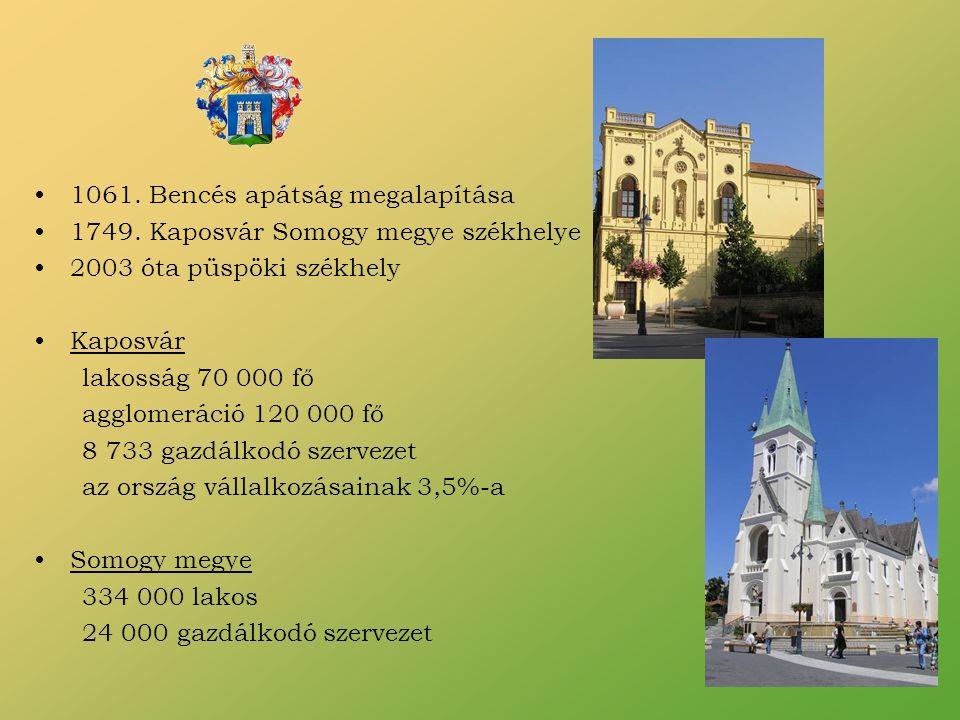 1061. Bencés apátság megalapítása 1749. Kaposvár Somogy megye székhelye 2003 óta püspöki székhely Kaposvár lakosság 70 000 fő agglomeráció 120 000 fő