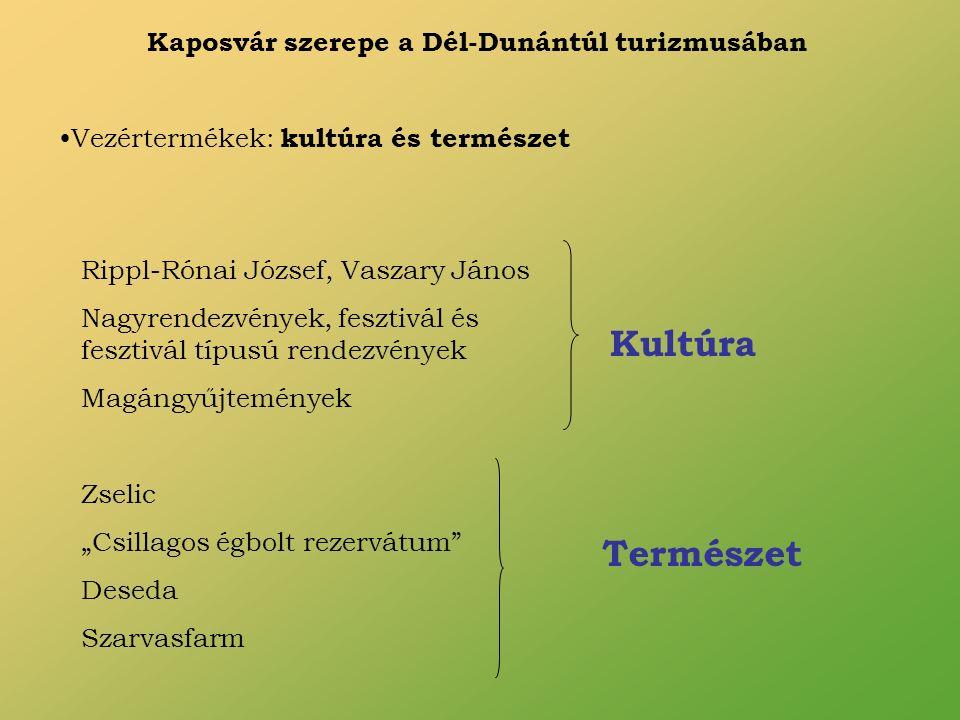 Kaposvár szerepe a Dél-Dunántúl turizmusában Vezértermékek: kultúra és természet Rippl-Rónai József, Vaszary János Nagyrendezvények, fesztivál és fesz