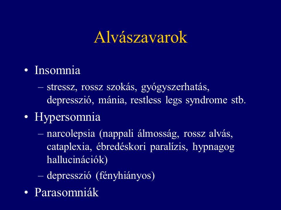 Alvászavarok Insomnia –stressz, rossz szokás, gyógyszerhatás, depresszió, mánia, restless legs syndrome stb.
