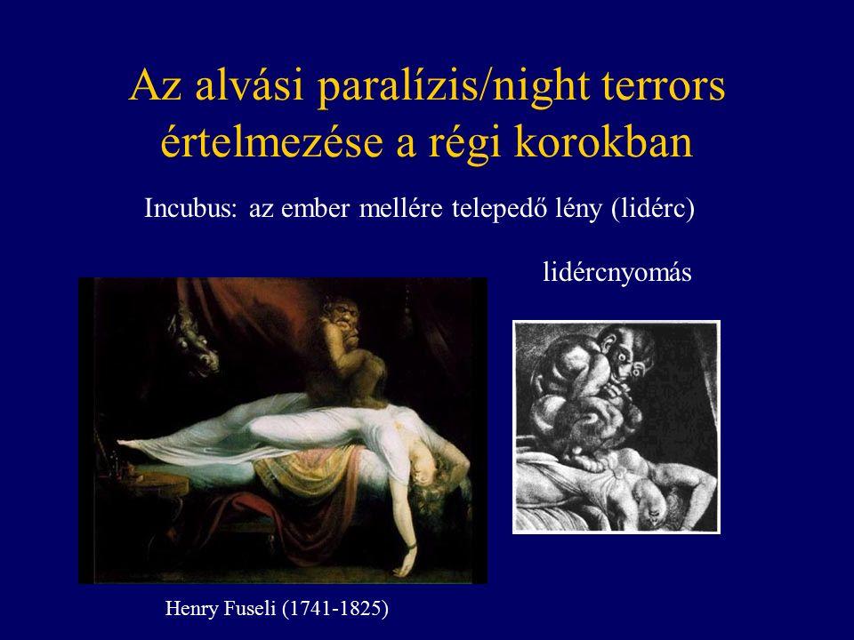 Az alvási paralízis/night terrors értelmezése a régi korokban Incubus: az ember mellére telepedő lény (lidérc) lidércnyomás Henry Fuseli (1741-1825)