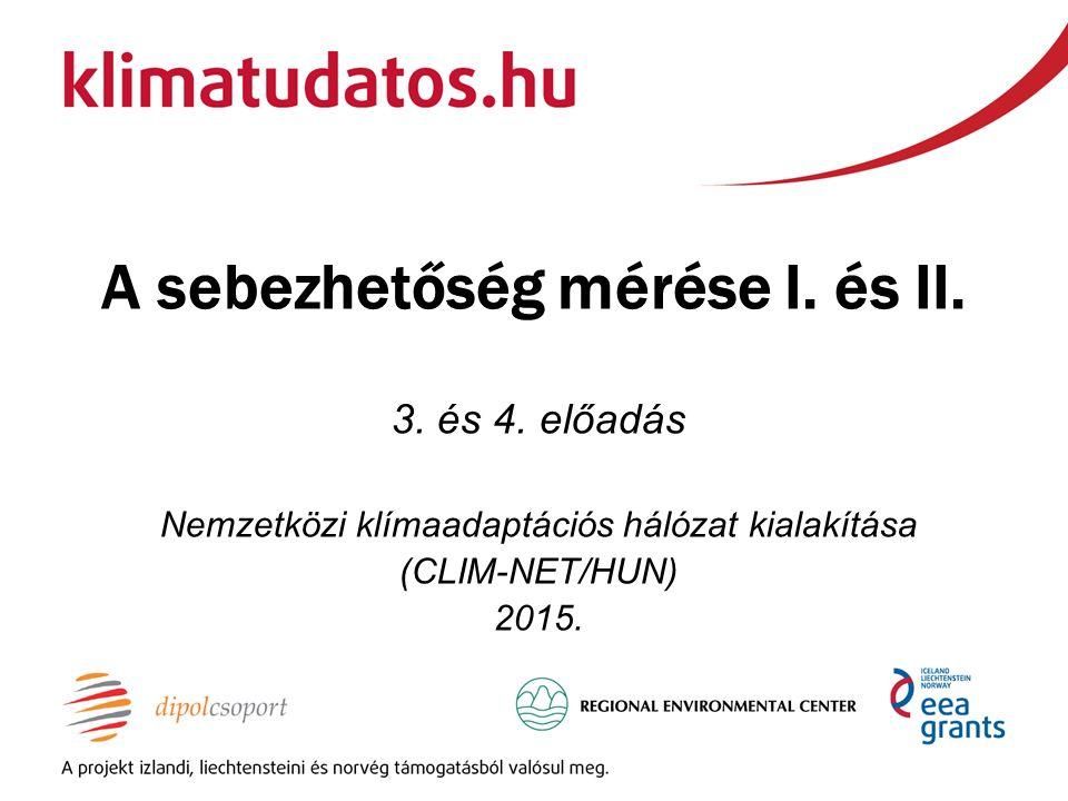 A sebezhetőség mérése I. és II. 3. és 4. előadás Nemzetközi klímaadaptációs hálózat kialakítása (CLIM-NET/HUN) 2015.