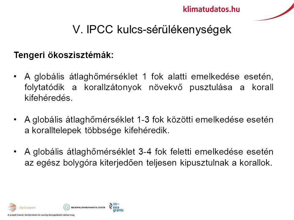 V. IPCC kulcs-sérülékenységek Tengeri ökoszisztémák: A globális átlaghőmérséklet 1 fok alatti emelkedése esetén, folytatódik a korallzátonyok növekvő