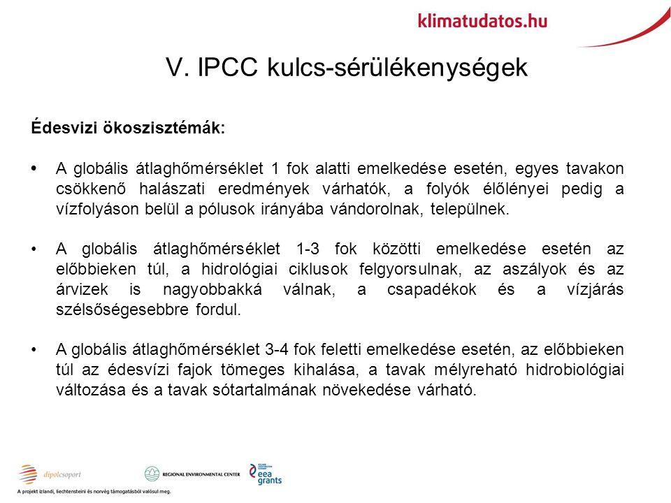 V. IPCC kulcs-sérülékenységek Édesvizi ökoszisztémák: A globális átlaghőmérséklet 1 fok alatti emelkedése esetén, egyes tavakon csökkenő halászati ere
