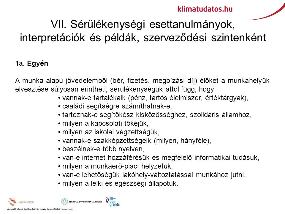 VII. Sérülékenységi esettanulmányok, interpretációk és példák, szerveződési szintenként 1a. Egyén A munka alapú jövedelemből (bér, fizetés, megbízási