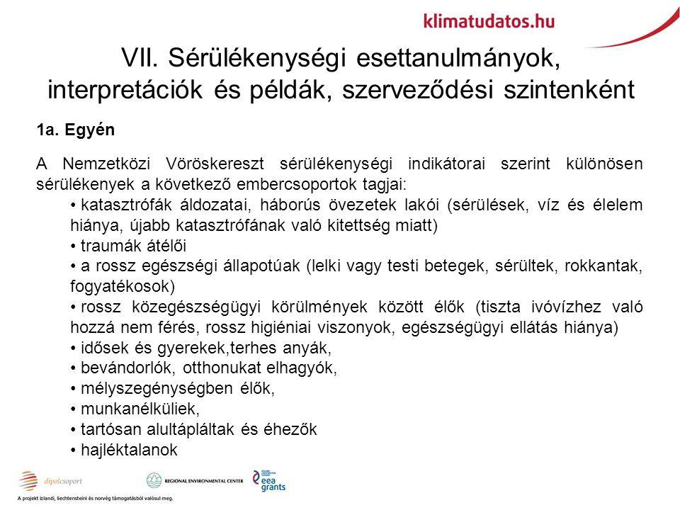 VII. Sérülékenységi esettanulmányok, interpretációk és példák, szerveződési szintenként 1a. Egyén A Nemzetközi Vöröskereszt sérülékenységi indikátorai