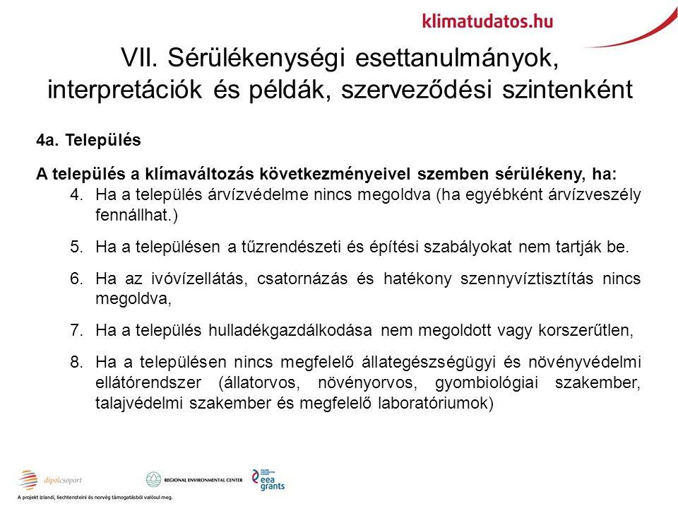 VII. Sérülékenységi esettanulmányok, interpretációk és példák, szerveződési szintenként 4a.