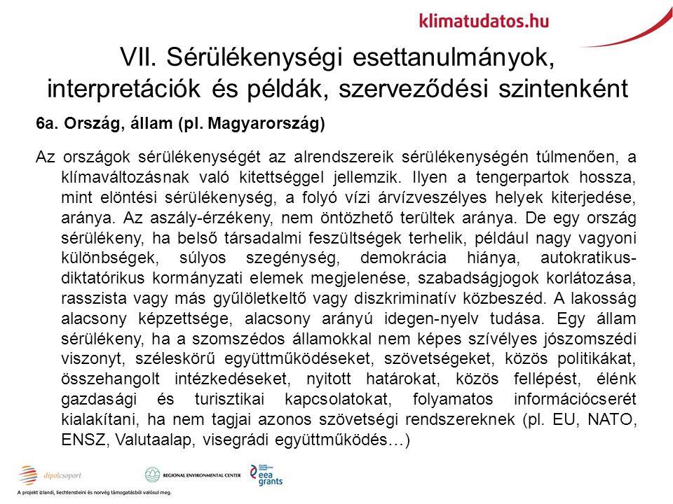 VII. Sérülékenységi esettanulmányok, interpretációk és példák, szerveződési szintenként 6a. Ország, állam (pl. Magyarország) Az országok sérülékenység