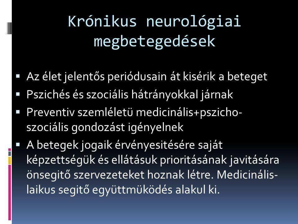 Krónikus neurológiai megbetegedések  Az élet jelentős periódusain át kisérik a beteget  Pszichés és szociális hátrányokkal járnak  Preventiv szemléletü medicinális+pszicho- szociális gondozást igényelnek  A betegek jogaik érvényesitésére saját képzettségük és ellátásuk prioritásának javitására önsegitő szervezeteket hoznak létre.