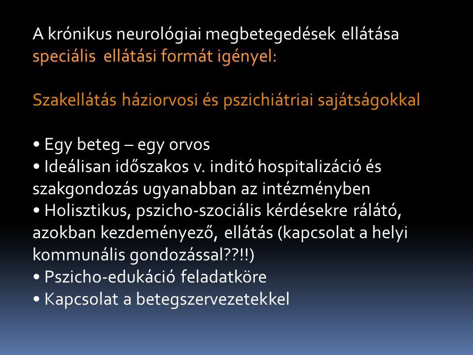 A krónikus neurológiai megbetegedések ellátása speciális ellátási formát igényel: Szakellátás háziorvosi és pszichiátriai sajátságokkal Egy beteg – egy orvos Ideálisan időszakos v.