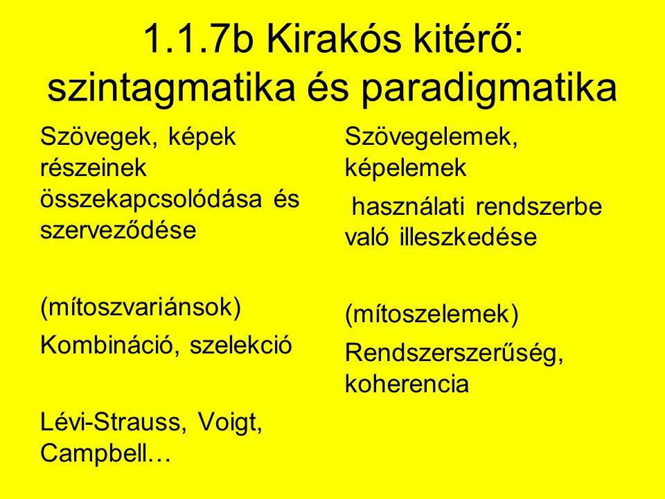1.1.7b Kirakós kitérő: szintagmatika és paradigmatika Szövegek, képek részeinek összekapcsolódása és szerveződése (mítoszvariánsok) Kombináció, szelekció Lévi-Strauss, Voigt, Campbell… Szövegelemek, képelemek használati rendszerbe való illeszkedése (mítoszelemek) Rendszerszerűség, koherencia