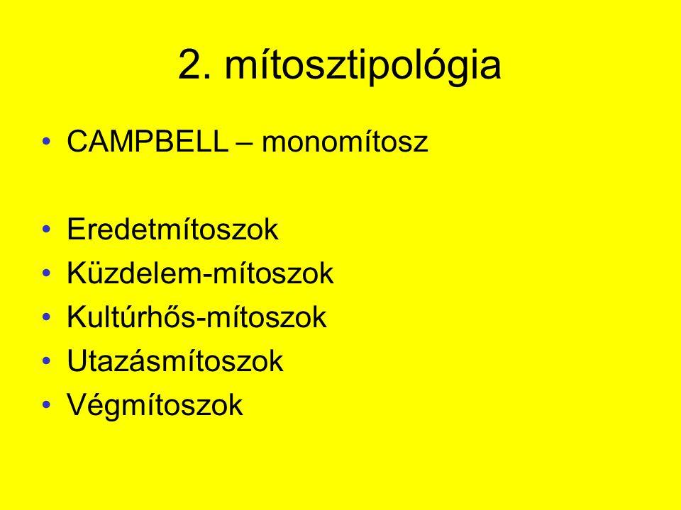 2. mítosztipológia CAMPBELL – monomítosz Eredetmítoszok Küzdelem-mítoszok Kultúrhős-mítoszok Utazásmítoszok Végmítoszok