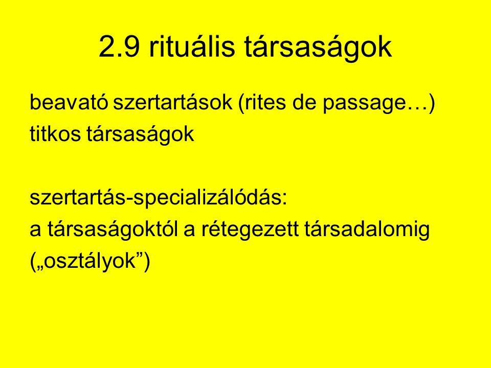 """2.9 rituális társaságok beavató szertartások (rites de passage…) titkos társaságok szertartás-specializálódás: a társaságoktól a rétegezett társadalomig (""""osztályok )"""