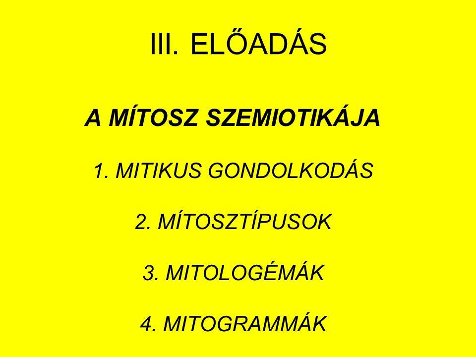 III. ELŐADÁS A MÍTOSZ SZEMIOTIKÁJA 1. MITIKUS GONDOLKODÁS 2.