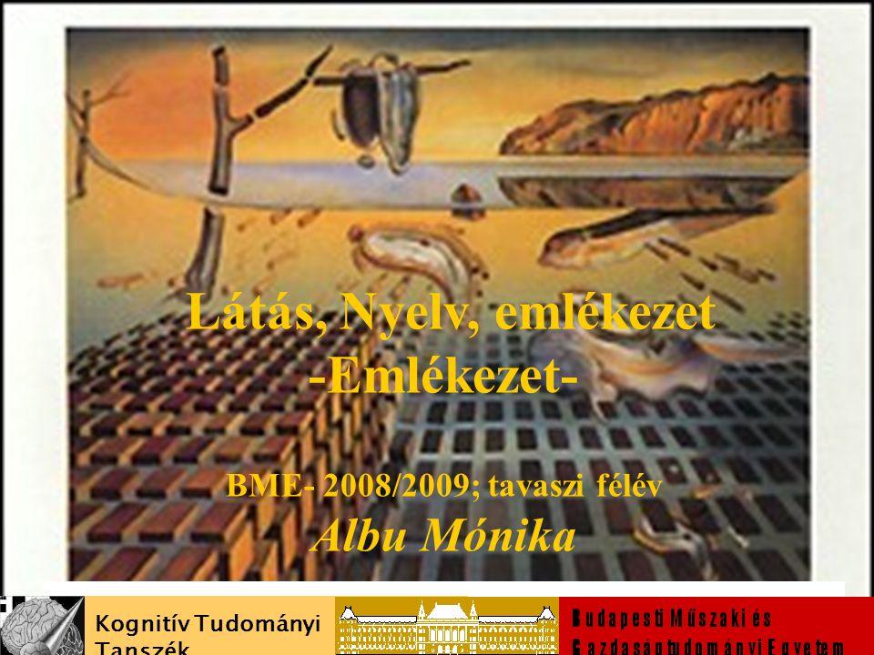 Látás, Nyelv, emlékezet -Emlékezet- BME- 2008/2009; tavaszi félév Albu Mónika malbu@cogsci.bme.hu Kognitív Tudományi Tanszék