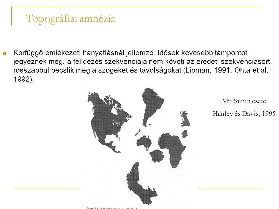 Topográfiai amnézia Korfüggő emlékezeti hanyatlásnál jellemző.