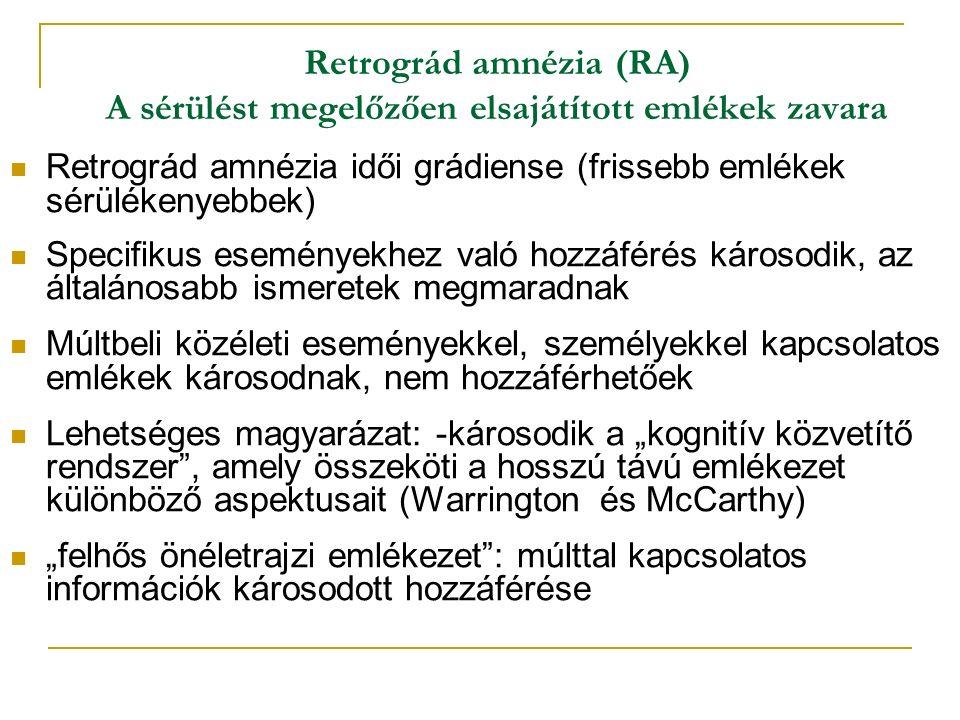 """Retrográd amnézia (RA) A sérülést megelőzően elsajátított emlékek zavara Retrográd amnézia idői grádiense (frissebb emlékek sérülékenyebbek) Specifikus eseményekhez való hozzáférés károsodik, az általánosabb ismeretek megmaradnak Múltbeli közéleti eseményekkel, személyekkel kapcsolatos emlékek károsodnak, nem hozzáférhetőek Lehetséges magyarázat: -károsodik a """"kognitív közvetítő rendszer , amely összeköti a hosszú távú emlékezet különböző aspektusait (Warrington és McCarthy) """"felhős önéletrajzi emlékezet : múlttal kapcsolatos információk károsodott hozzáférése"""