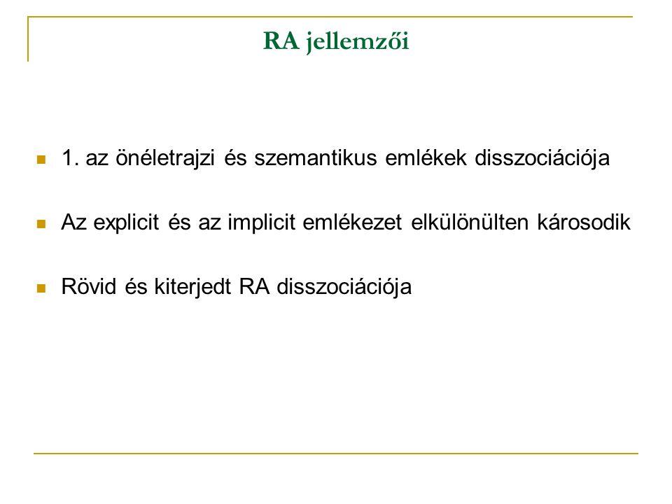 RA jellemzői 1.