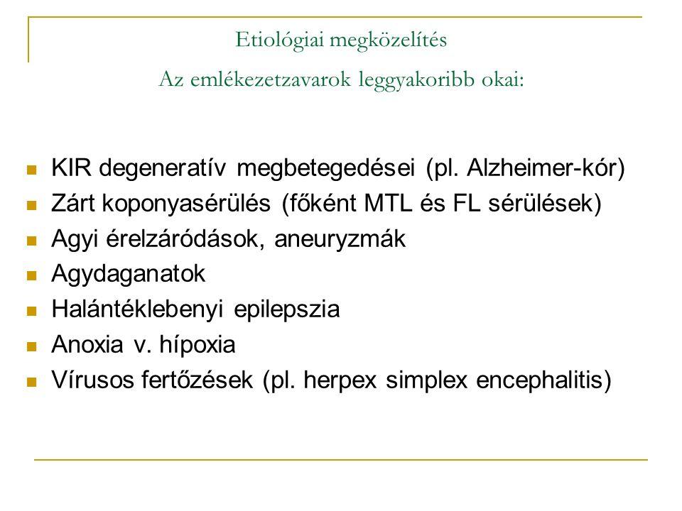 Etiológiai megközelítés Az emlékezetzavarok leggyakoribb okai: KIR degeneratív megbetegedései (pl.