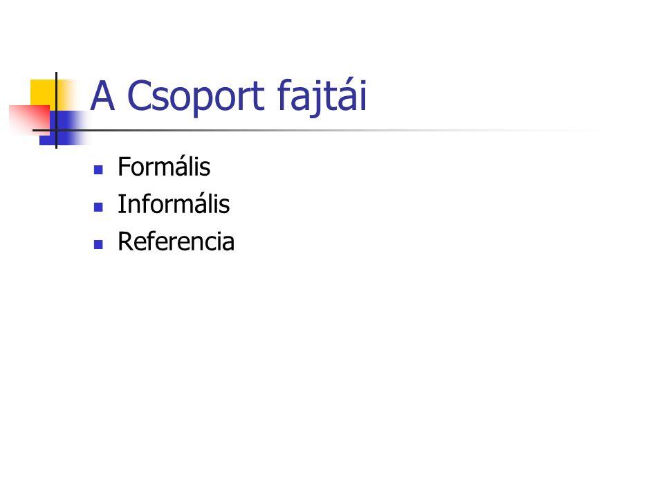 A Csoport fajtái Formális Informális Referencia