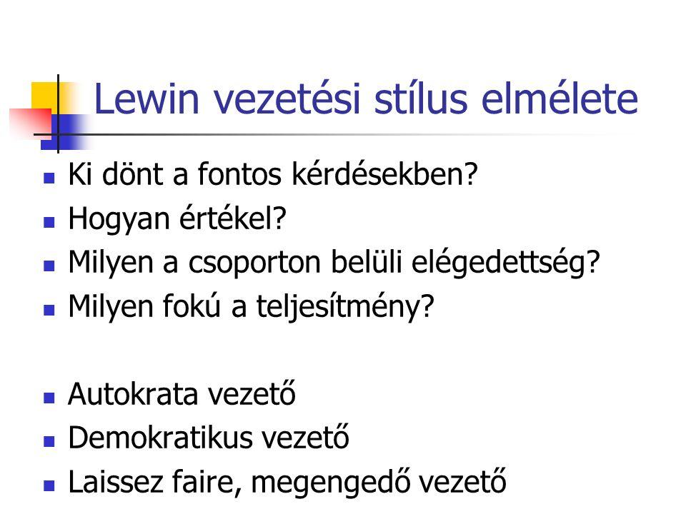 Lewin vezetési stílus elmélete Ki dönt a fontos kérdésekben.