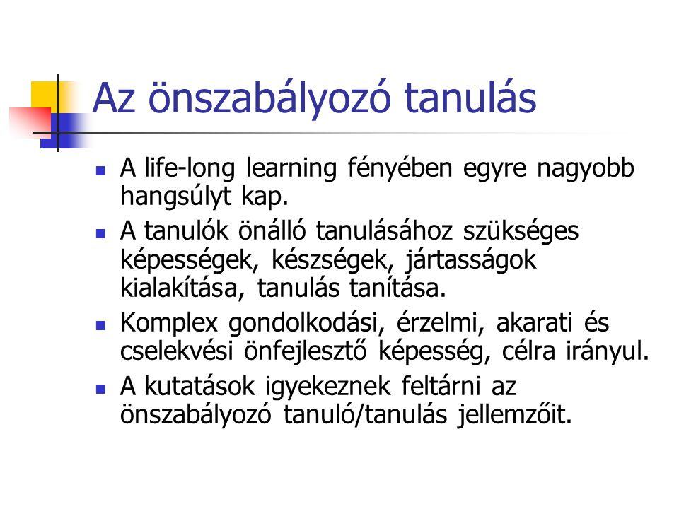 Az önszabályozó tanulás A life-long learning fényében egyre nagyobb hangsúlyt kap.