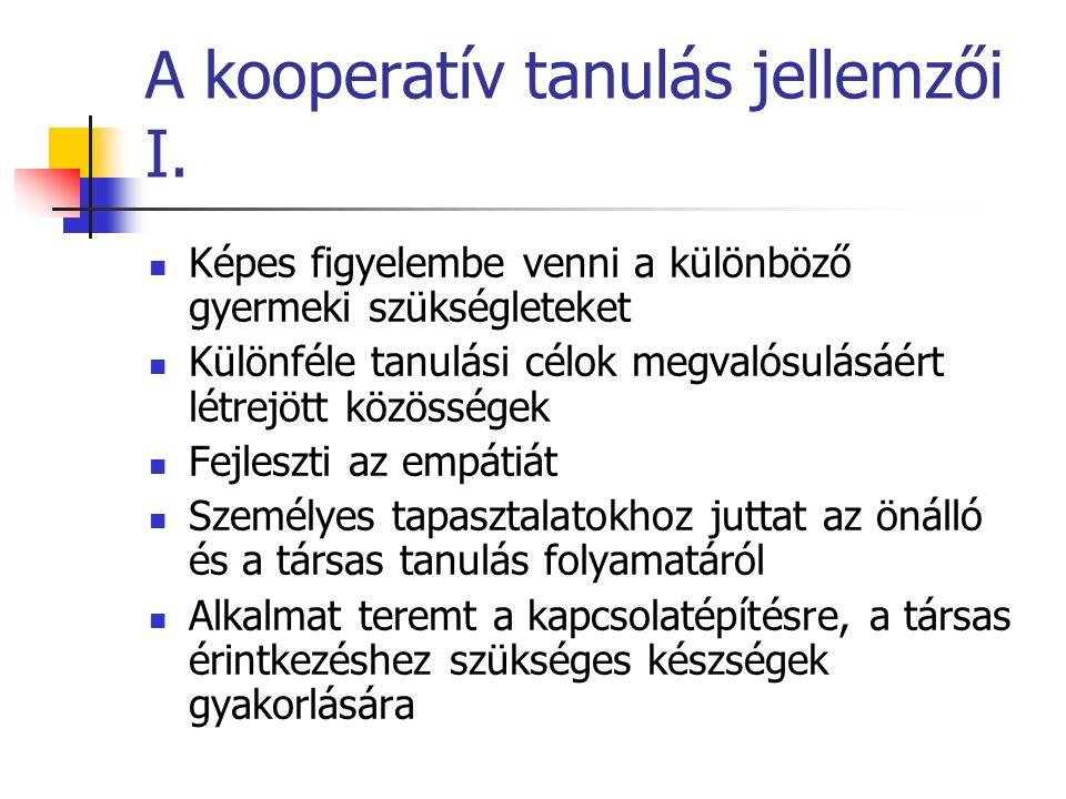 A kooperatív tanulás jellemzői I.
