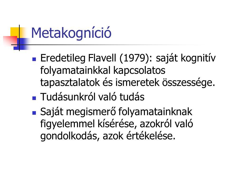 Metakogníció Metakognícióval kapcsolatos kutatások: Metakognitív hiedelmek Metakognitív tudatosság Metakognitív tapasztalatok Monitorozás Végrehajtó funkciók Tanulási stratégiák Én-szabályozás stb.