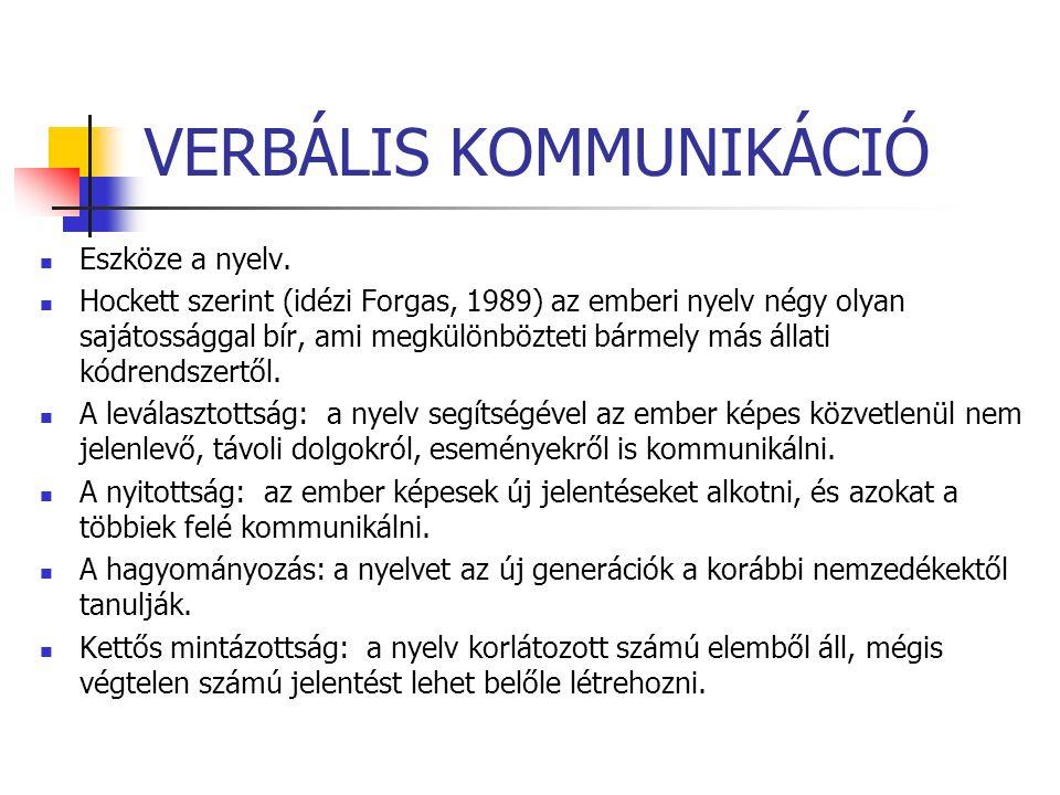 VERBÁLIS KOMMUNIKÁCIÓ Eszköze a nyelv.