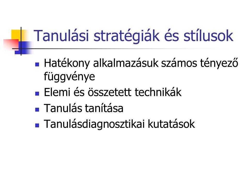 Tanulási stratégiák és stílusok Hatékony alkalmazásuk számos tényező függvénye Elemi és összetett technikák Tanulás tanítása Tanulásdiagnosztikai kutatások