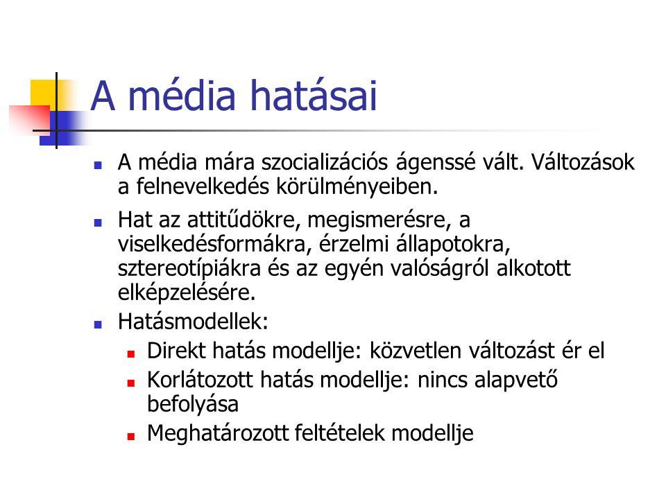 A média hatásai A média mára szocializációs ágenssé vált.