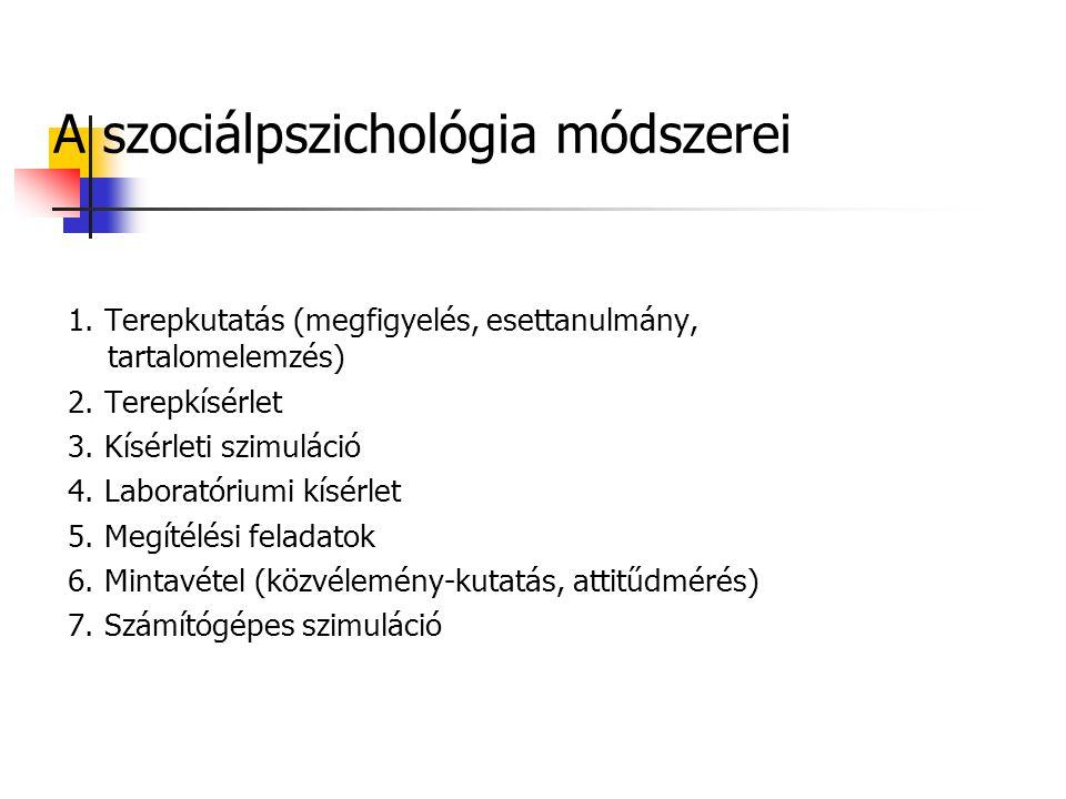 A szociálpszichológia módszerei 1. Terepkutatás (megfigyelés, esettanulmány, tartalomelemzés) 2.