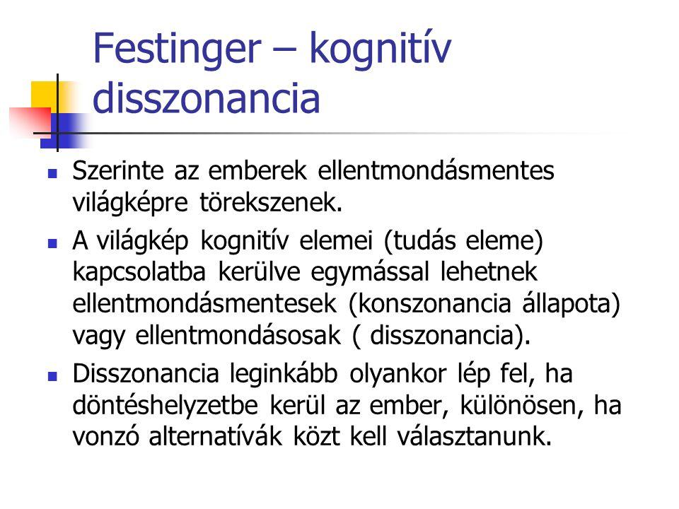 Festinger – kognitív disszonancia Szerinte az emberek ellentmondásmentes világképre törekszenek.